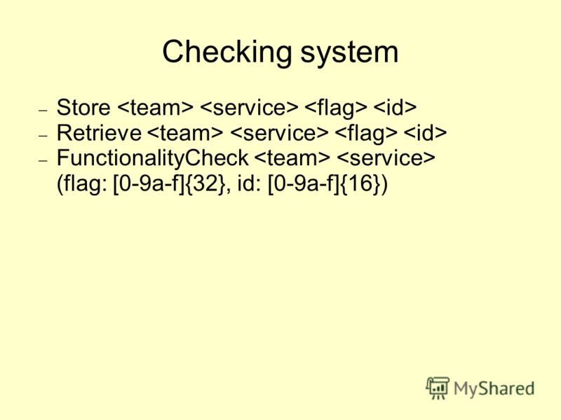 Checking system Store Retrieve FunctionalityCheck (flag: [0-9a-f]{32}, id: [0-9a-f]{16})
