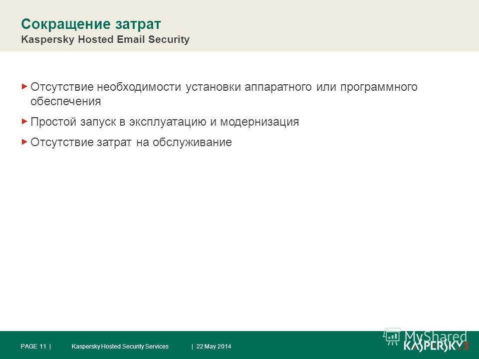 Сокращение затрат Kaspersky Hosted Email Security Отсутствие необходимости установки аппаратного или программного обеспечения Простой запуск в эксплуатацию и модернизация Отсутствие затрат на обслуживание | 22 May 2014Kaspersky Hosted Security Servic