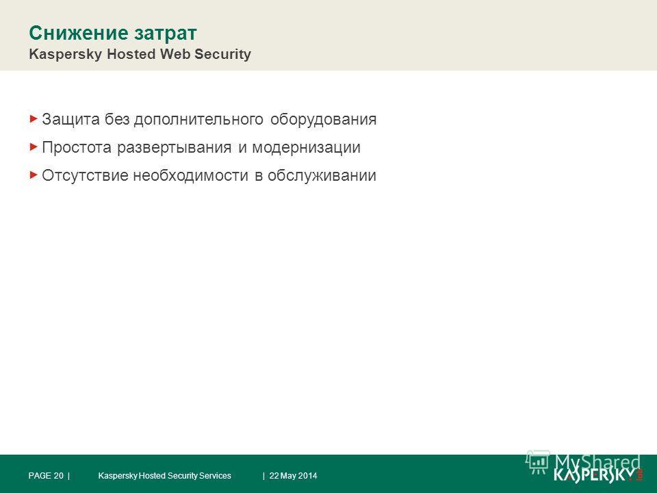 Снижение затрат Kaspersky Hosted Web Security Защита без дополнительного оборудования Простота развертывания и модернизации Отсутствие необходимости в обслуживании | 22 May 2014PAGE 20 |Kaspersky Hosted Security Services