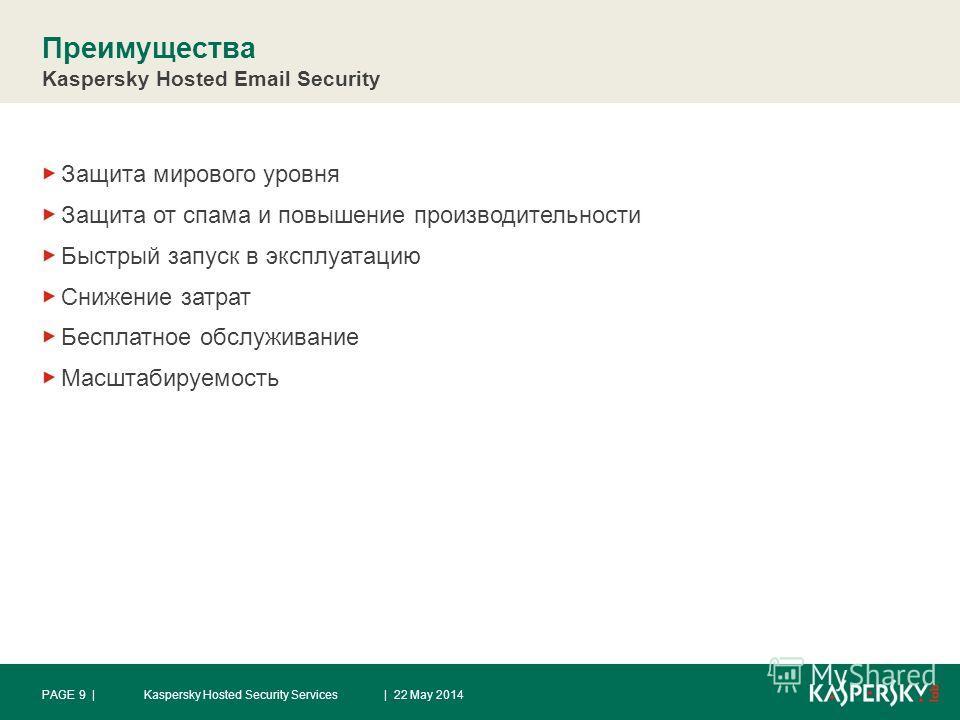 Преимущества Kaspersky Hosted Email Security Защита мирового уровня Защита от спама и повышение производительности Быстрый запуск в эксплуатацию Снижение затрат Бесплатное обслуживание Масштабируемость | 22 May 2014Kaspersky Hosted Security ServicesP