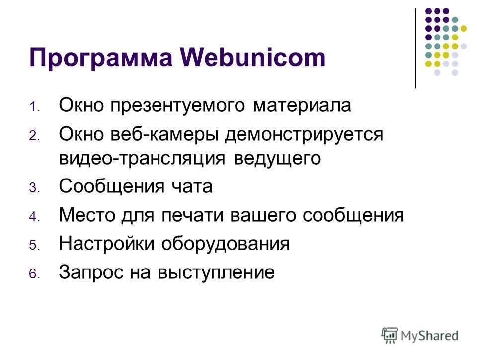 1. Окно презентуемого материала 2. Окно веб-камеры демонстрируется видео-трансляция ведущего 3. Сообщения чата 4. Место для печати вашего сообщения 5. Настройки оборудования 6. Запрос на выступление