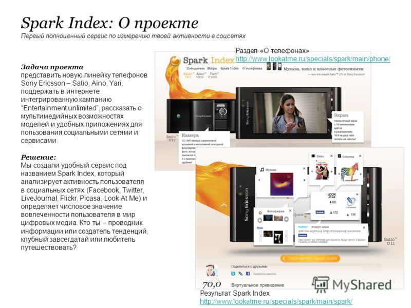 Spark Index: О проекте Первый полноценный сервис по измерению твоей активности в соцсетях Задача проекта представить новую линейку телефонов Sony Ericsson – Satio, Aino, Yari, поддержать в интернете интегрированную кампанию Entertainment unlimited, р