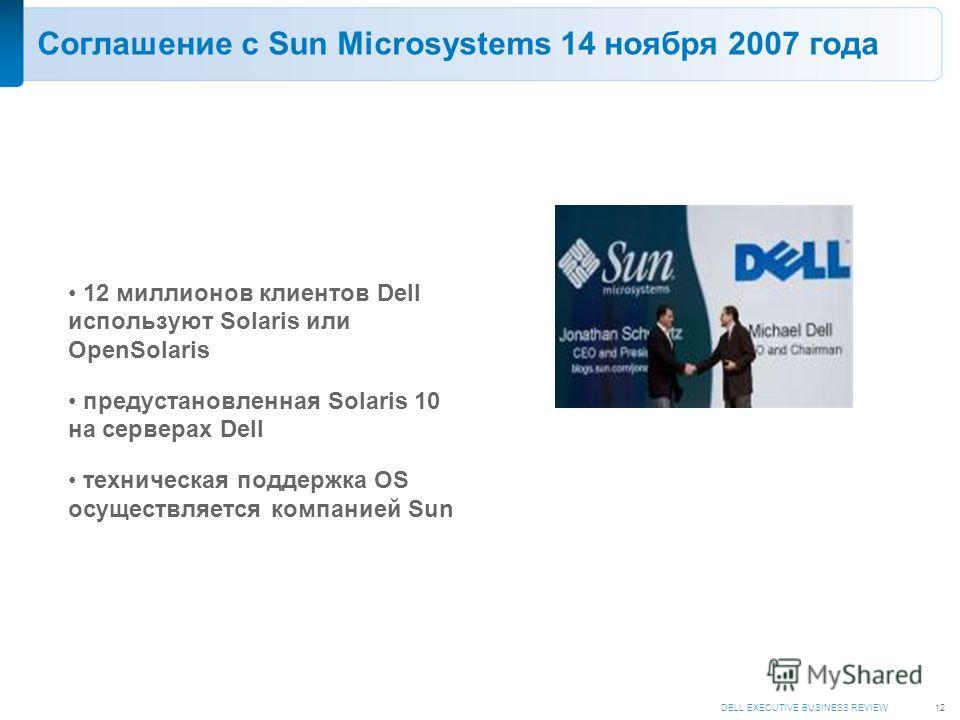 DELL EXECUTIVE BUSINESS REVIEW12 Соглашение с Sun Microsystems 14 ноября 2007 года 12 миллионов клиентов Dell используют Solaris или OpenSolaris предустановленная Solaris 10 на серверах Dell техническая поддержка OS осуществляется компанией Sun
