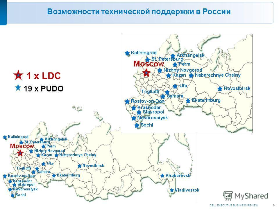 DELL EXECUTIVE BUSINESS REVIEW9 Возможности технической поддержки в России 1 x LDC 19 x PUDO