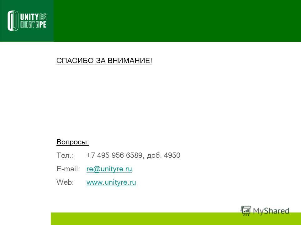 СПАСИБО ЗА ВНИМАНИЕ! Вопросы: Тел.: +7 495 956 6589, доб. 4950 E-mail:re@unityre.rure@unityre.ru Web:www.unityre.ruwww.unityre.ru