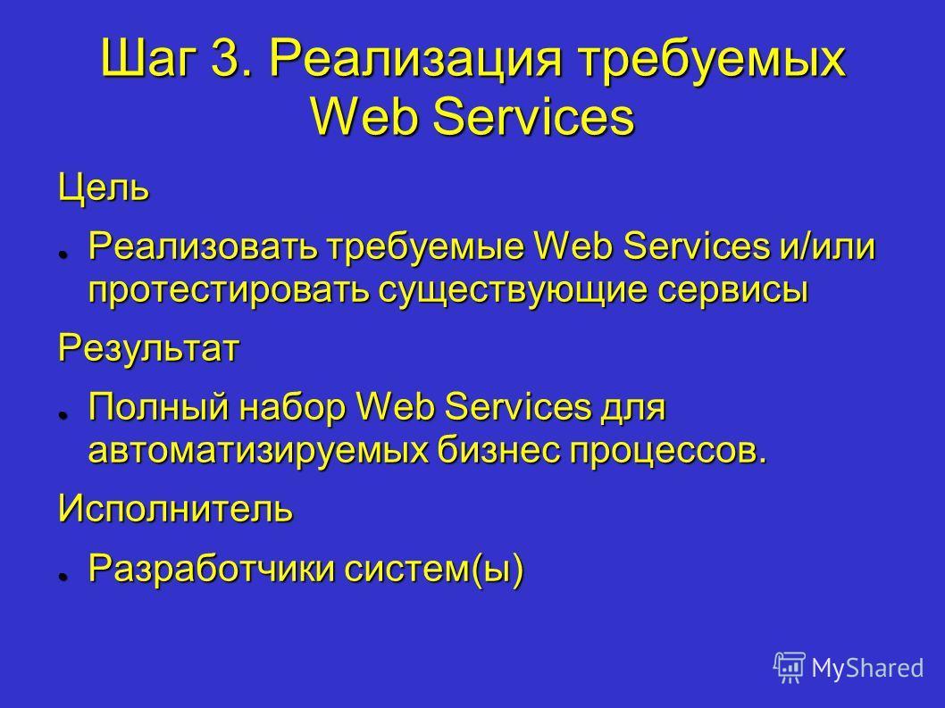 Шаг 3. Реализация требуемых Web Services Цель Реализовать требуемые Web Services и/или протестировать существующие сервисы Реализовать требуемые Web Services и/или протестировать существующие сервисыРезультат Полный набор Web Services для автоматизир