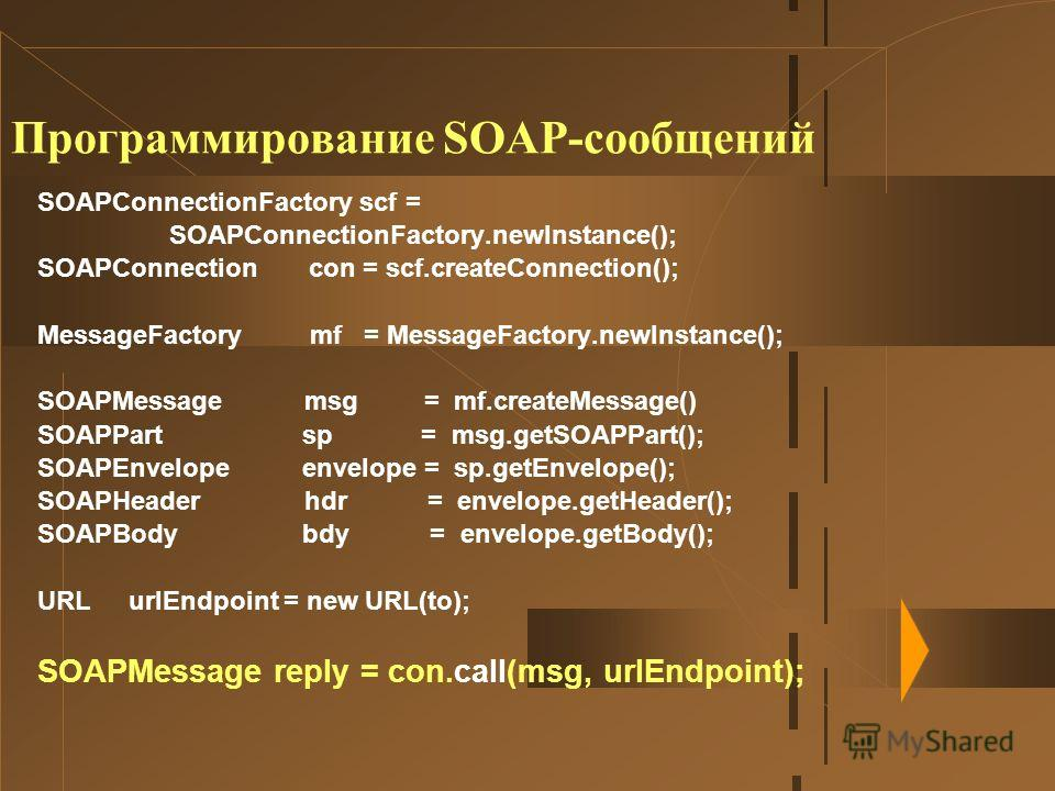Программирование SOAP-сообщений SOAPConnectionFactory scf = SOAPConnectionFactory.newInstance(); SOAPConnection con = scf.createConnection(); MessageFactory mf = MessageFactory.newInstance(); SOAPMessage msg = mf.createMessage() SOAPPart sp = msg.get