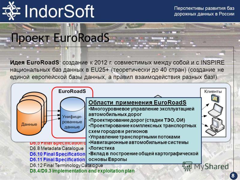 Идея EuroRoadS: создание к 2012 г. совместимых между собой и с INSPIRE национальных баз данных в EU25+ (теоретически до 40 стран) (создание не единой европейской базы данных, а правил взаимодействия разных баз!). D1.9 Public final project report D2.2