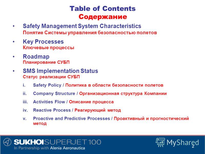 Table of Contents Содержание Safety Management System Characteristics Понятие Системы управления безопасностью полетов Key Processes Ключевые процессы Roadmap Планирование СУБП SMS Implementation Status Статус реализации СУБП i.Safety Policy / Полити