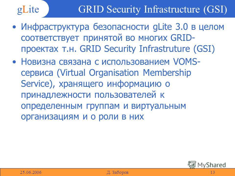 gLite 25.06.2006Д. Заборов13 GRID Security Infrastructure (GSI) Инфраструктура безопасности gLite 3.0 в целом соответствует принятой во многих GRID- проектах т.н. GRID Security Infrastruture (GSI) Новизна связана с использованием VOMS- сервиса (Virtu