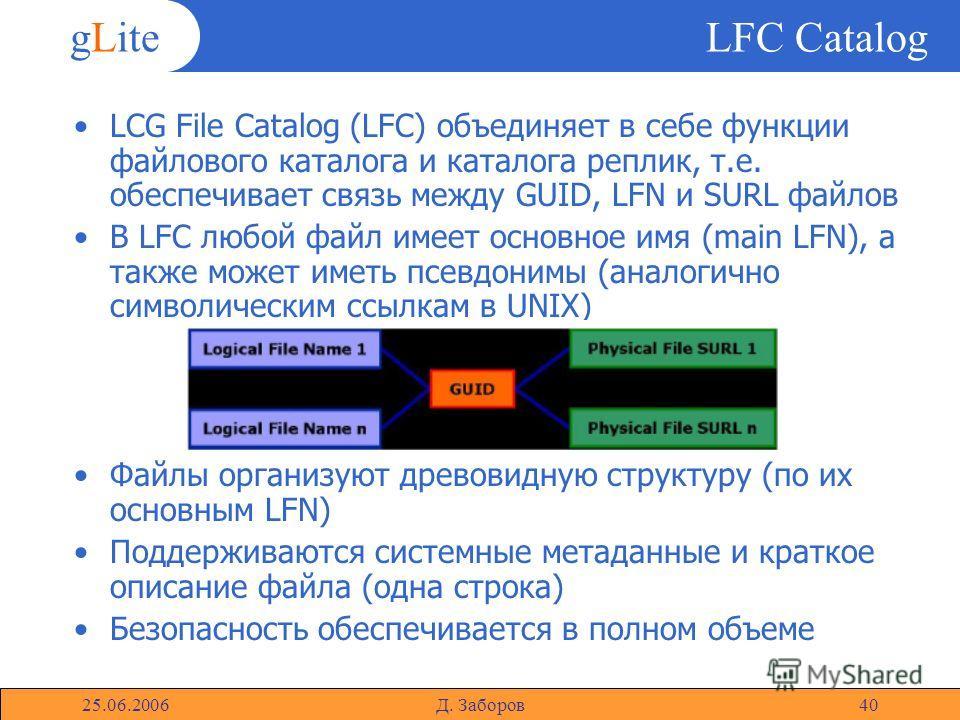 gLite 25.06.2006Д. Заборов40 LFC Catalog LCG File Catalog (LFC) объединяет в себе функции файлового каталога и каталога реплик, т.е. обеспечивает связь между GUID, LFN и SURL файлов В LFC любой файл имеет основное имя (main LFN), а также может иметь