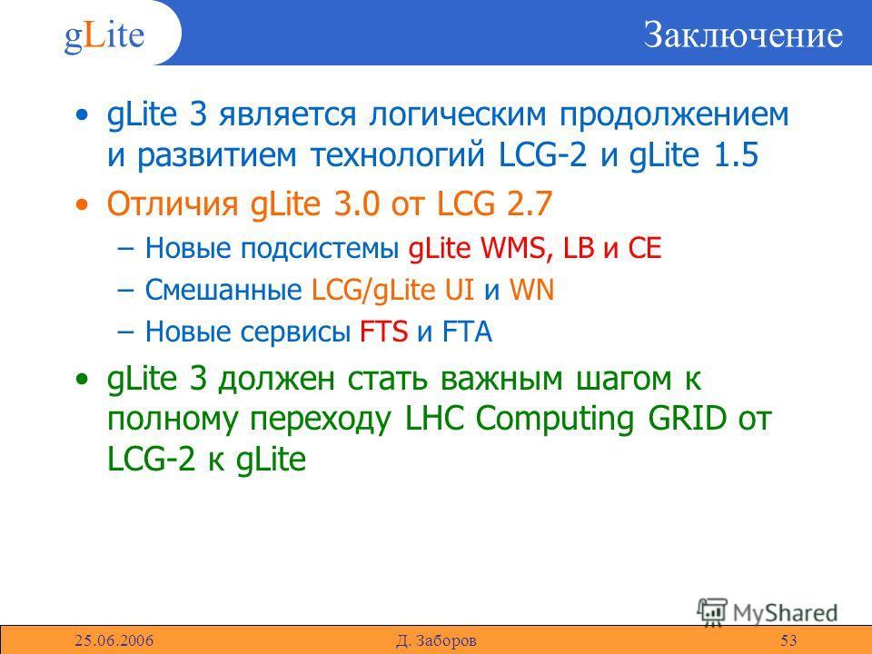 gLite 25.06.2006Д. Заборов53 Заключение gLite 3 является логическим продолжением и развитием технологий LCG-2 и gLite 1.5 Отличия gLite 3.0 от LCG 2.7 –Новые подсистемы gLite WMS, LB и CE –Смешанные LCG/gLite UI и WN –Новые сервисы FTS и FTA gLite 3