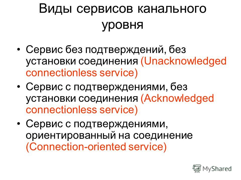 Виды сервисов канального уровня Сервис без подтверждений, без установки соединения (Unacknowledged connectionless service) Сервис с подтверждениями, без установки соединения (Acknowledged connectionless service) Сервис с подтверждениями, ориентирован