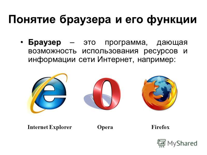 Понятие браузера и его функции БраузерБраузер – это программа, дающая возможность использования ресурсов и информации сети Интернет, например: Internet ExplorerOperaFirefox