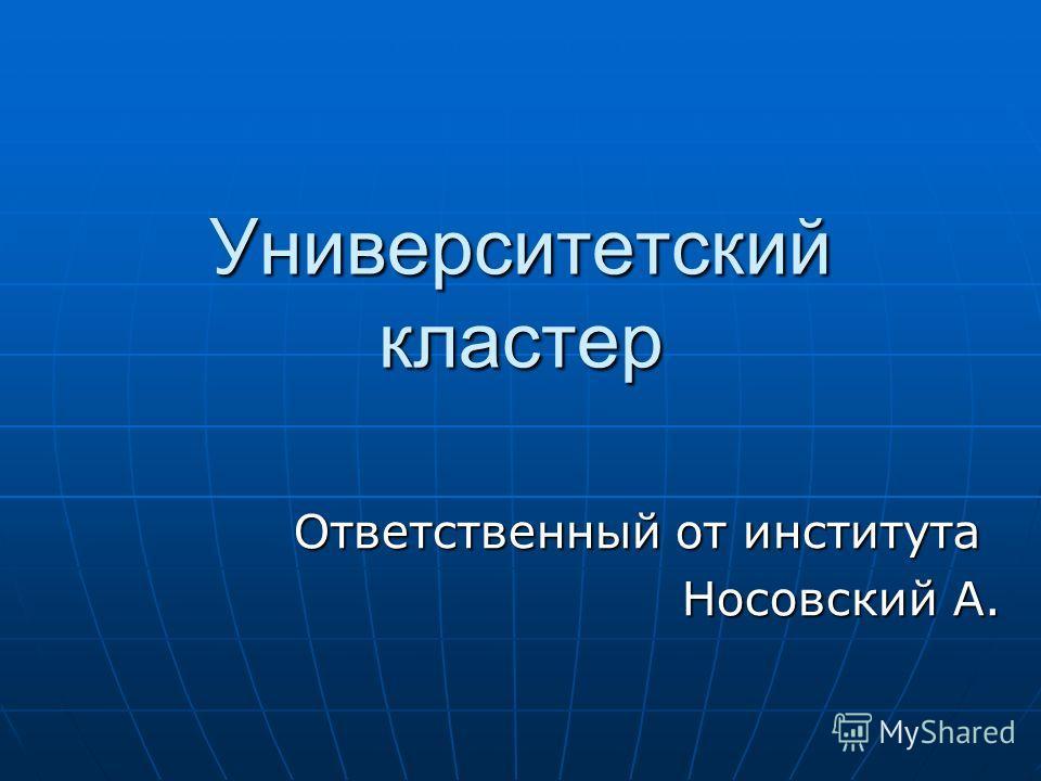 Университетский кластер Ответственный от института Носовский А.