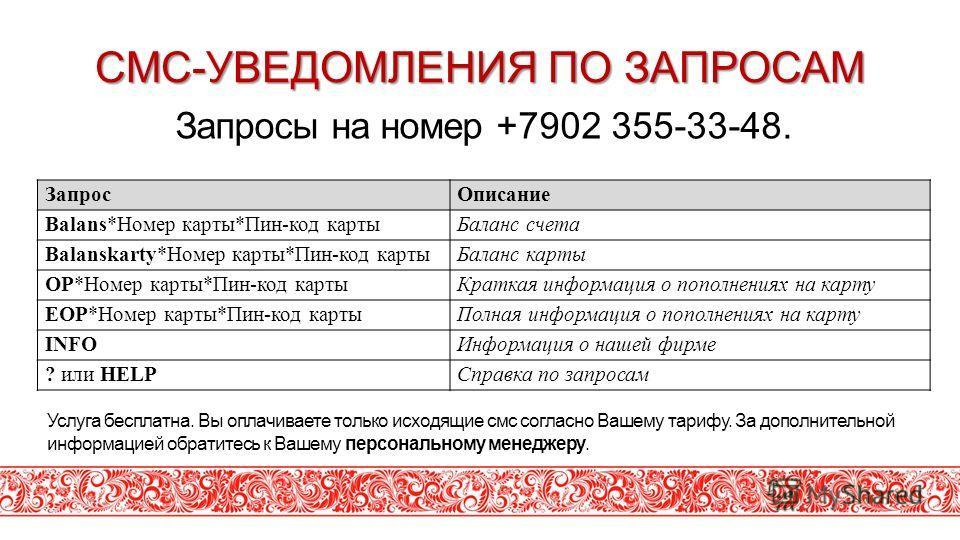 СМС-УВЕДОМЛЕНИЯ ПО ЗАПРОСАМ Запросы на номер +7902 355-33-48. Услуга бесплатна. Вы оплачиваете только исходящие смс согласно Вашему тарифу. За дополнительной информацией обратитесь к Вашему персональному менеджеру. ЗапросОписание Balans*Номер карты*П