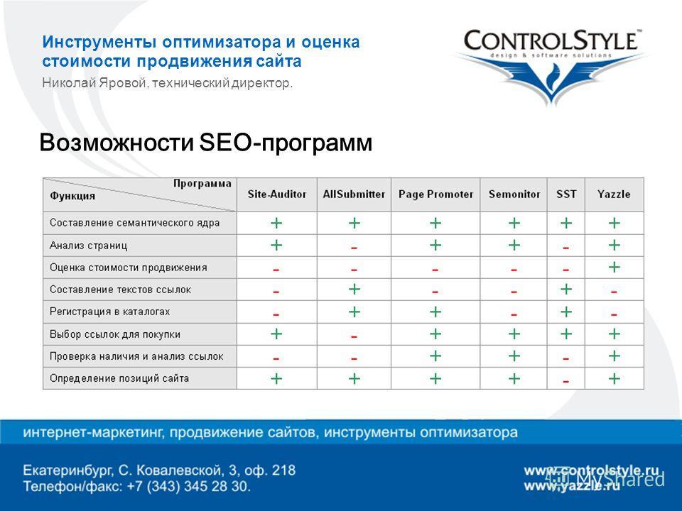 Инструменты оптимизатора и оценка стоимости продвижения сайта Николай Яровой, технический директор. Возможности SEO-программ