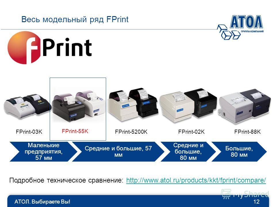 Маленькие предприятия, 57 мм Средние и большие, 57 мм Средние и большие, 80 мм Большие, 80 мм АТОЛ. Выбираете Вы!12 Весь модельный ряд FPrint FPrint-03KFPrint-5200KFPrint-02KFPrint-88K FPrint-55K Подробное техническое сравнение: http://www.atol.ru/pr