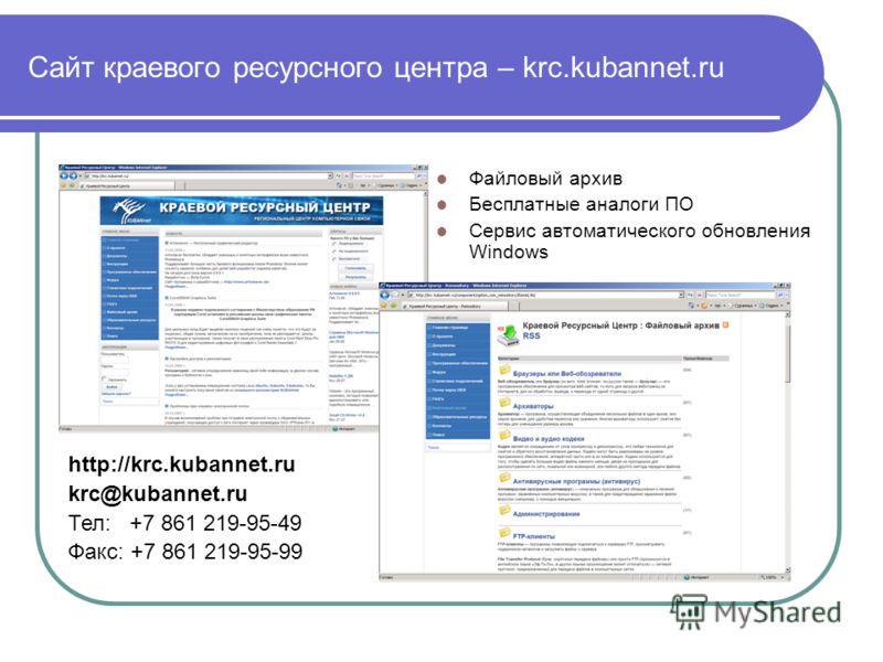 Сайт краевого ресурсного центра – krc.kubannet.ru Файловый архив Бесплатные аналоги ПО Сервис автоматического обновления Windows http://krc.kubannet.ru krc@kubannet.ru Тел: +7 861 219-95-49 Факс: +7 861 219-95-99