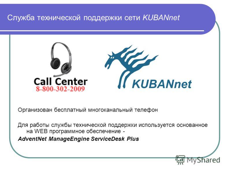 Служба технической поддержки сети KUBANnet Организован бесплатный многоканальный телефон Для работы службы технической поддержки используется основанное на WEB программное обеспечение - AdventNet ManageEngine ServiceDesk Plus