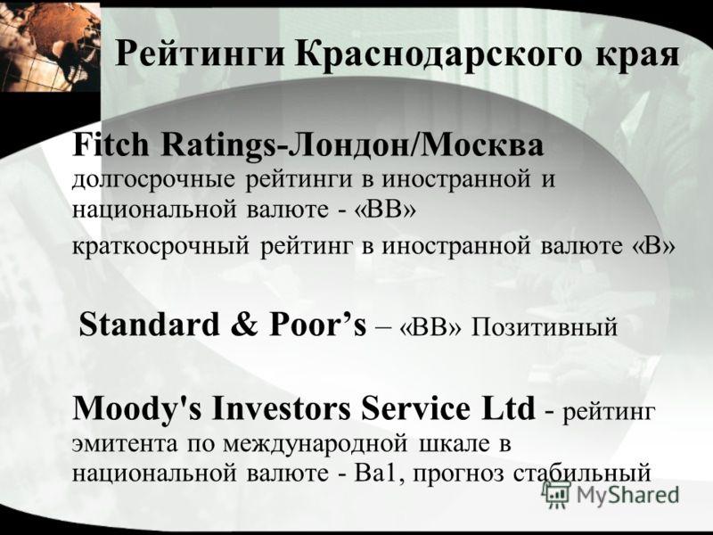 Рейтинги Краснодарского края Fitch Ratings-Лондон/Москва долгосрочные рейтинги в иностранной и национальной валюте - «BB» краткосрочный рейтинг в иностранной валюте «B» Standard & Poors – «BB» Позитивный Moody's Investors Service Ltd - рейтинг эмитен