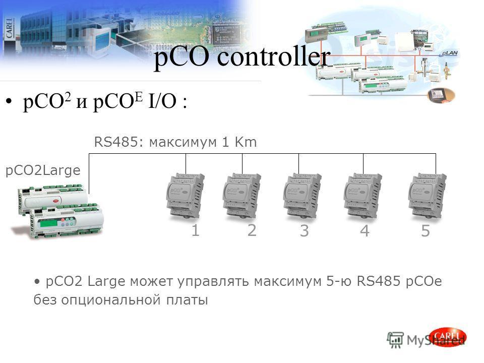 pCO controller pCO 2 и pCO E I/O : 12 345 RS485: максимум 1 Km pCO2Large pCO2 Large может управлять максимум 5-ю RS485 pCOe без опциональной платы