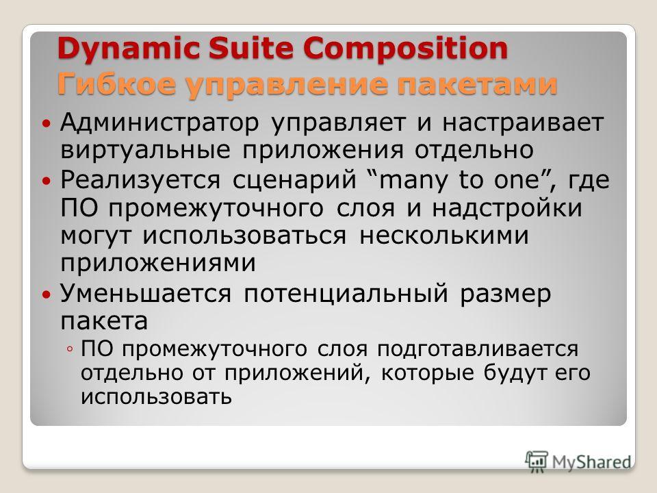 Dynamiс Suite Composition Гибкое управление пакетами Администратор управляет и настраивает виртуальные приложения отдельно Реализуется сценарий many to one, где ПО промежуточного слоя и надстройки могут использоваться несколькими приложениями Уменьша