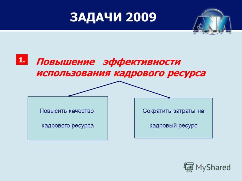 ЗАДАЧИ 2009 Повышение эффективности использования кадрового ресурса 1. Повысить качество кадрового ресурса Повысить качество кадрового ресурса Повысить качество кадрового ресурса Сократить затраты на кадровый ресурс