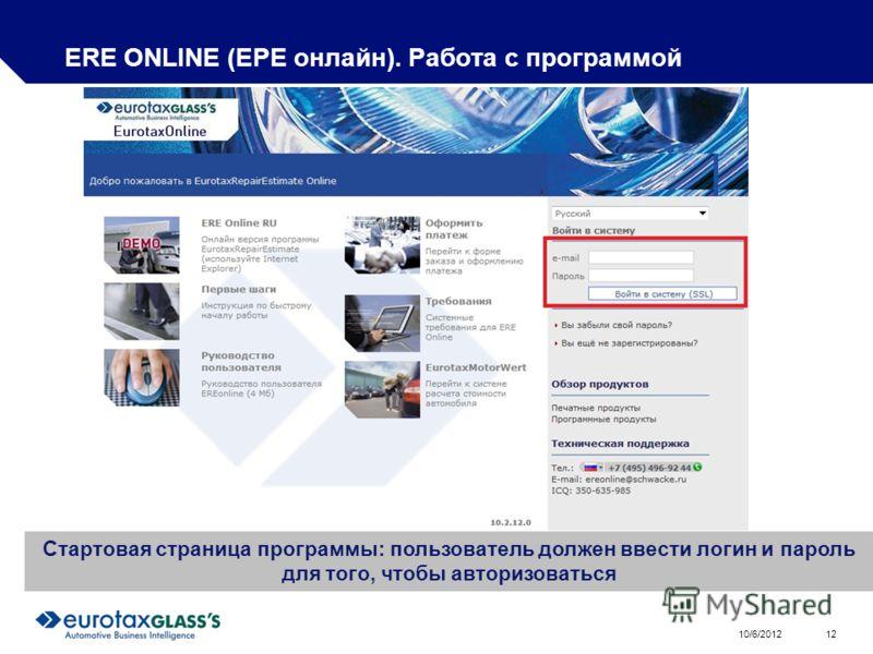 8/1/2012 12 ERE ONLINE (ЕРЕ онлайн). Работа с программой Стартовая страница программы: пользователь должен ввести логин и пароль для того, чтобы авторизоваться