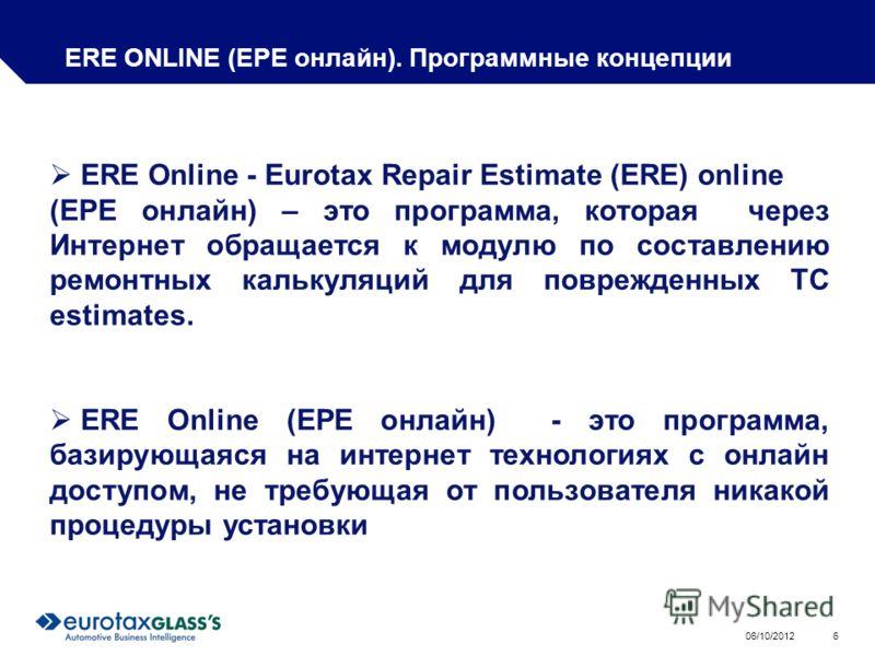 01/08/2012 6 ERE ONLINE (ЕРЕ онлайн). Программные концепции ERE Online - Eurotax Repair Estimate (ERE) online (ЕРЕ онлайн) – это программа, которая через Интернет обращается к модулю по составлению ремонтных калькуляций для поврежденных ТС estimates.
