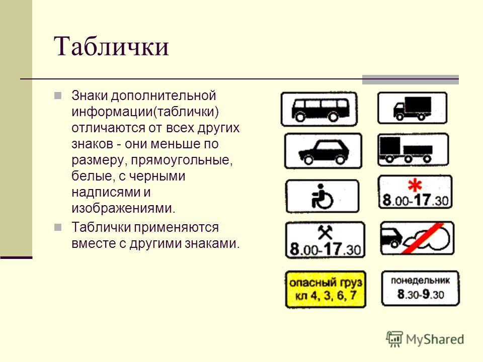 Таблички Знаки дополнительной информации(таблички) отличаются от всех других знаков - они меньше по размеру, прямоугольные, белые, с черными надписями и изображениями. Таблички применяются вместе с другими знаками.