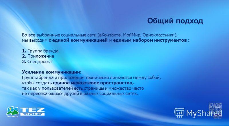 Общий подход Во все выбранные социальные сети (вКонтакте, МойМир, Одноклассники), мы выходим с единой коммуникацией и единым набором инструментов : 1. Группа бренда 2. Приложение 3. Спецпроект Усиление коммуникации: Группы бренда и приложения техниче