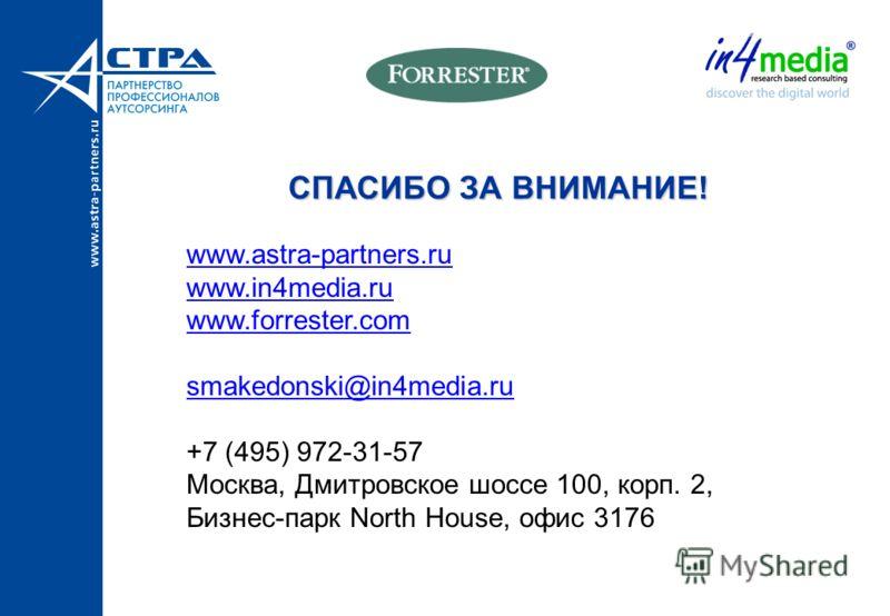 СПАСИБО ЗА ВНИМАНИЕ! www.astra-partners.ru www.in4media.ru www.forrester.com smakedonski@in4media.ru +7 (495) 972-31-57 Москва, Дмитровское шоссе 100, корп. 2, Бизнес-парк North House, офис 3176