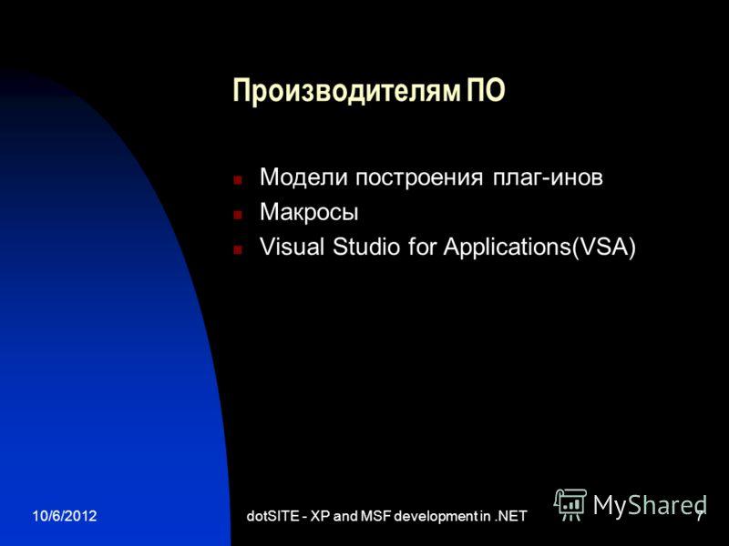 8/13/2012dotSITE - XP and MSF development in.NET7 Производителям ПО Модели построения плаг-инов Макросы Visual Studio for Applications(VSA)