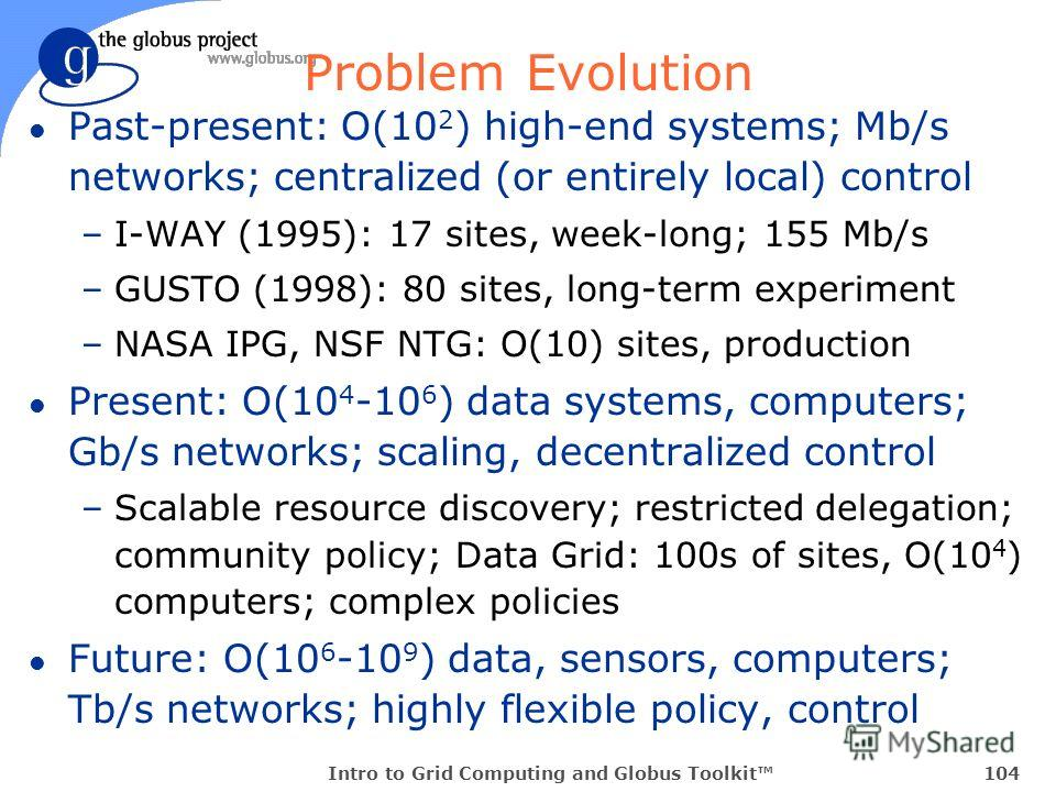 Intro to Grid Computing and Globus Toolkit104 Problem Evolution l Past-present: O(10 2 ) high-end systems; Mb/s networks; centralized (or entirely local) control –I-WAY (1995): 17 sites, week-long; 155 Mb/s –GUSTO (1998): 80 sites, long-term experime
