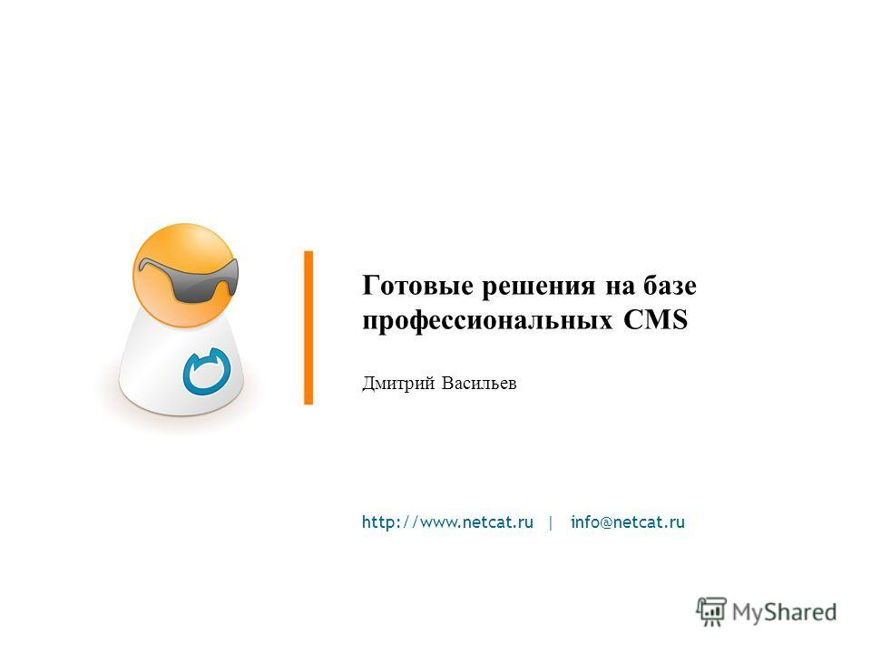 http://www.netcat.ru | info@netcat.ru Готовые решения на базе профессиональных CMS Дмитрий Васильев