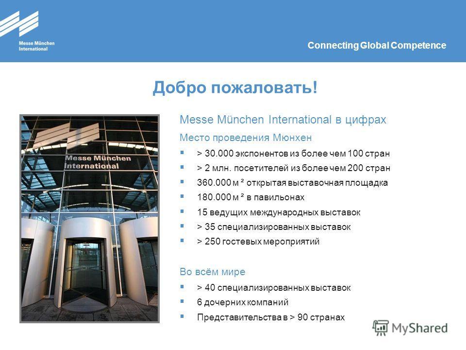 Connecting Global Competence Добро пожаловать! Messe München International в цифрах Место проведения Мюнхен > 30.000 экспонентов из более чем 100 стран > 2 млн. посетителей из более чем 200 стран 360.000 м ² открытая выставочная площадка 180.000 м ²