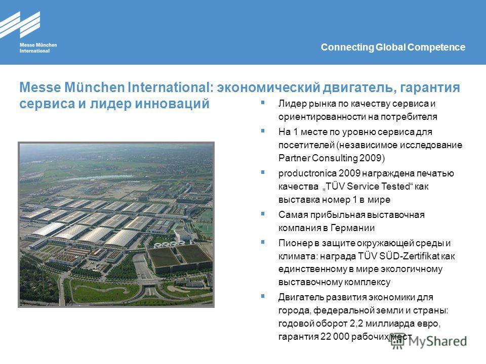 Connecting Global Competence Messe München International: экономический двигатель, гарантия сервиса и лидер инноваций Лидер рынка по качеству сервиса и ориентированности на потребителя На 1 месте по уровню сервиса для посетителей (независимое исследо