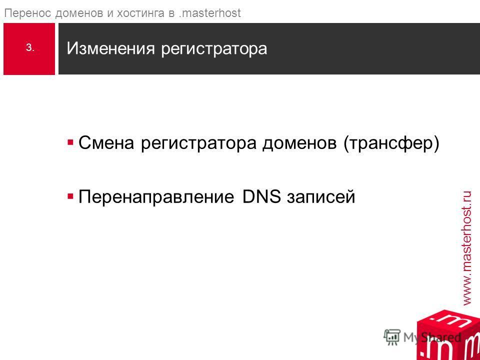 www.masterhost.ru Перенос доменов и хостинга в.masterhost Смена регистратора доменов (трансфер) Перенаправление DNS записей Изменения регистратора 3.