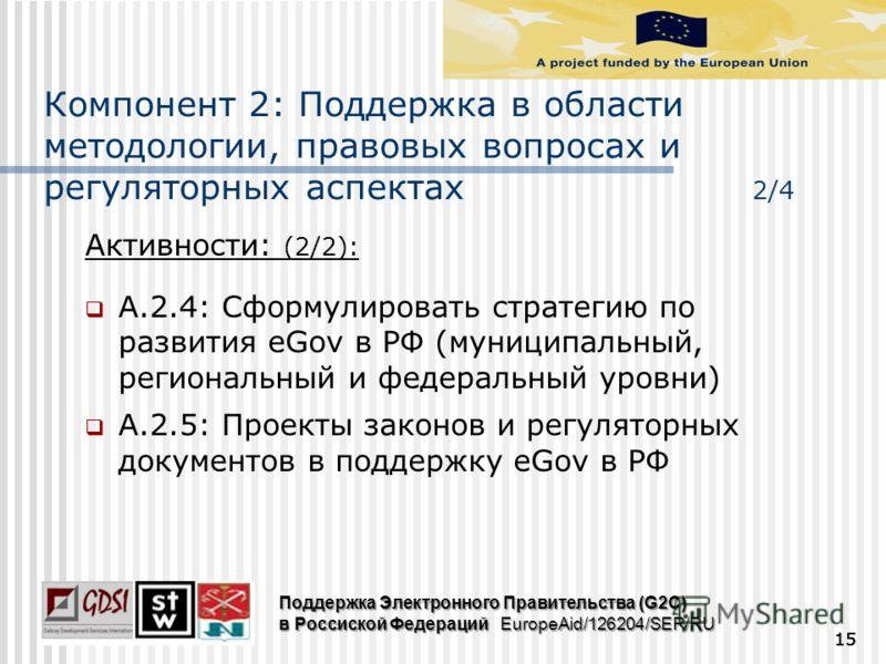 Активности: (2/2): A.2.4: Сформулировать стратегию по развития eGov в РФ (муниципальный, региональный и федеральный уровни) A.2.5: Проекты законов и регуляторных документов в поддержку eGov в РФ 15 Поддержка Электронного Правительства (G2C) в Россиск
