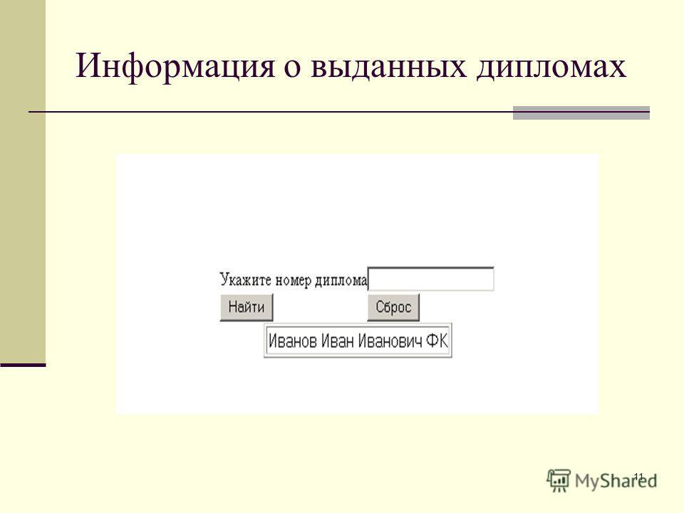 11 Информация о выданных дипломах