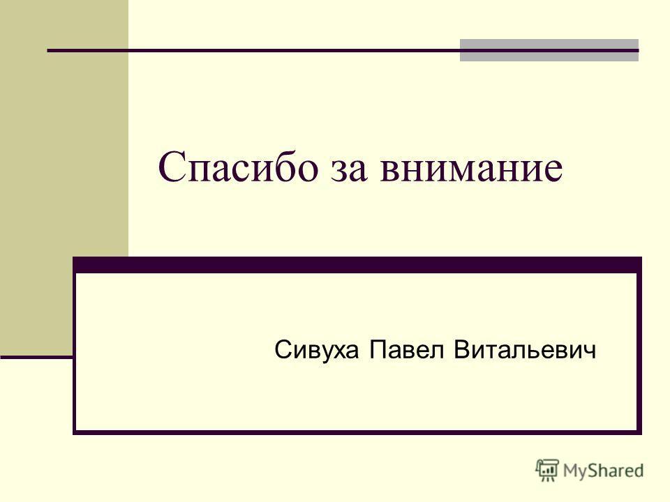 Спасибо за внимание Сивуха Павел Витальевич