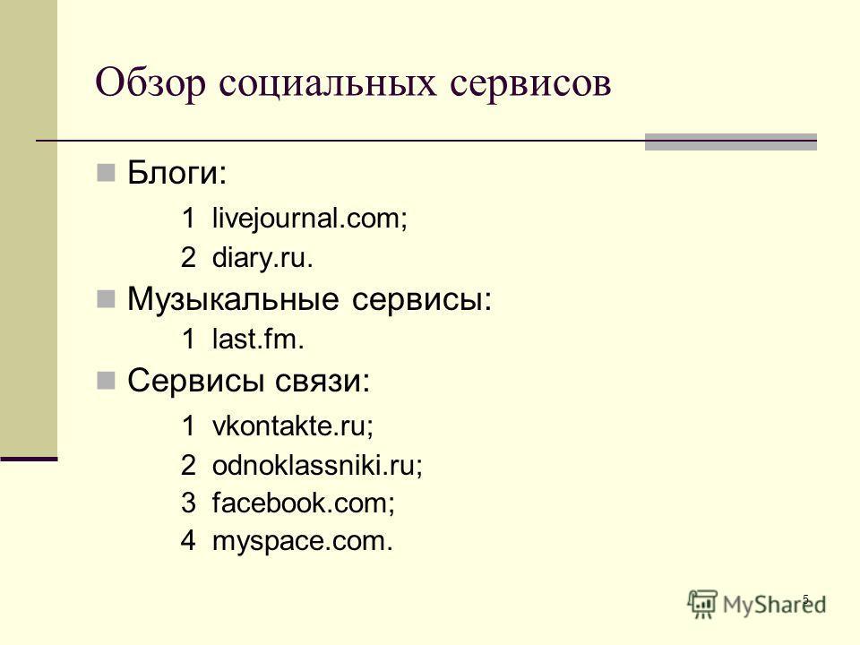 5 Обзор социальных сервисов Блоги: 1 livejournal.com; 2 diary.ru. Музыкальные сервисы: 1 last.fm. Сервисы связи: 1 vkontakte.ru; 2 odnoklassniki.ru; 3 facebook.com; 4 myspace.com.