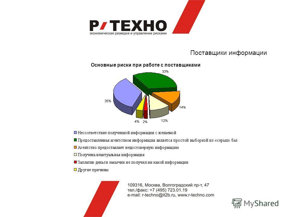 Поставщики информации Основные риски при работе с поставщиками