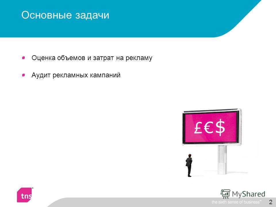 2 Основные задачи Оценка объемов и затрат на рекламу Аудит рекламных кампаний