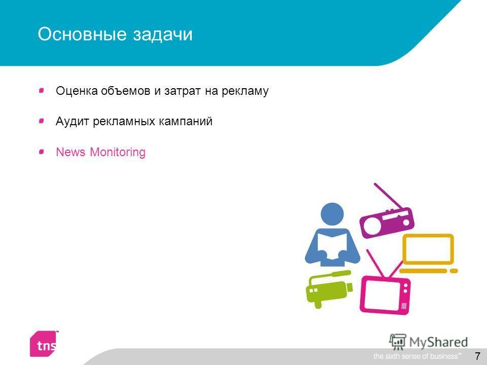 7 Основные задачи Оценка объемов и затрат на рекламу Аудит рекламных кампаний News Monitoring