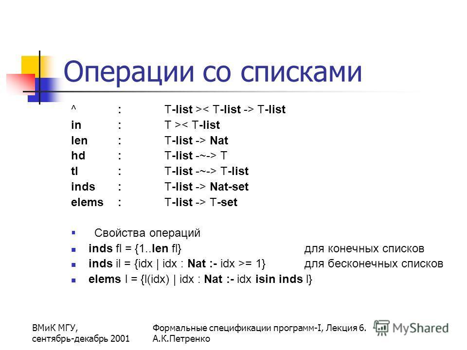 ВМиК МГУ, сентябрь-декабрь 2001 Формальные спецификации программ-I, Лекция 6. А.К.Петренко Операции со списками ^ : T-list > T-list in : T >< T-list len : T-list -> Nat hd : T-list -~-> T tl : T-list -~-> T-list inds : T-list -> Nat-set elems : T-lis