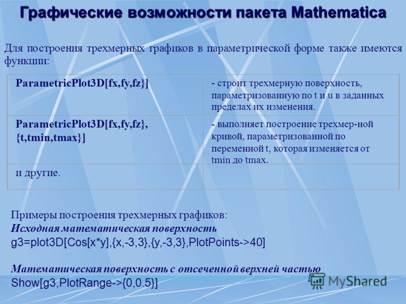 Графические возможности пакета Mathematica Для построения трехмерных графиков в параметрической форме также имеются функции: ParametricPlot3D[fx,fy,fz}] - строит трехмерную поверхность, параметризованную по t и u в заданных пределах их изменения. Par