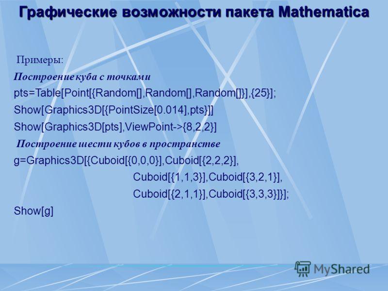 Графические возможности пакета Mathematica Примеры: Построение куба с точками pts=Table[Point[{Random[],Random[],Random[]}],{25}]; Show[Graphics3D[{PointSize[0.014],pts}]] Show[Graphics3D[pts],ViewPoint->{8,2,2}] Построение шести кубов в пространстве
