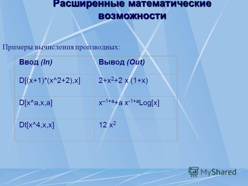Примеры вычисления производных: Ввод (In)Вывод (Out) D[(x+1)*(x^2+2),x] 2+x 2 +2 x (1+x) D[x^a,x,a] x –1+a +a x -1+a Log[x] Dt[x^4,x,x] 12 x 2